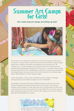 Summer Art Camps for Girls!