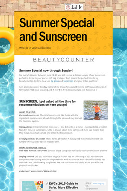 Summer Special and  Sunscreen