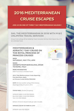 2016 Mediterranean Cruise Escapes