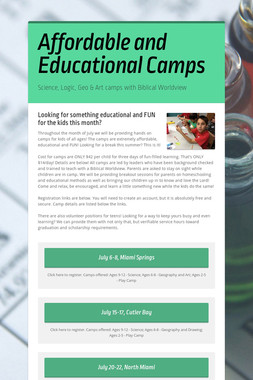 Affordable and Educational Camps