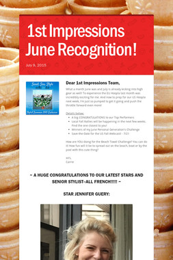 1st Impressions June Recognition!