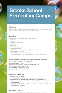 Brooks School Elementary Camps