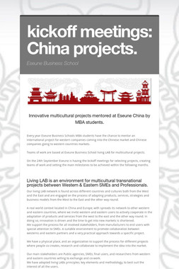 kickoff meetings: China projects.