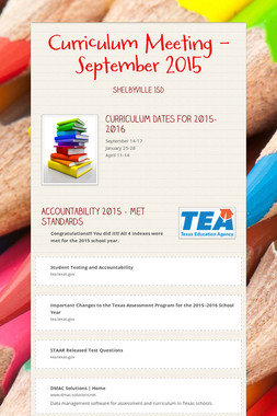 Curriculum Meeting - September 2015