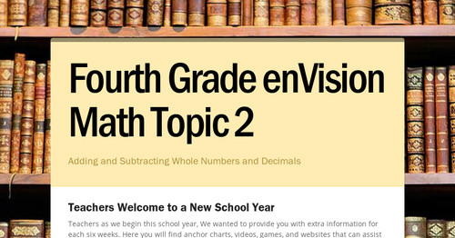 Fourth Grade EnVision Math Topic 2 Smore Newsletters