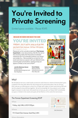 You're Invited to Private Screening