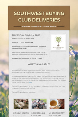 Southwest buying club deliveries