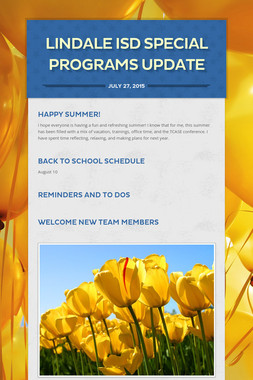 Lindale ISD Special Programs Update