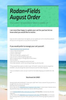 Rodan+Fields August Order