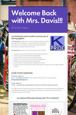 Welcome Back with Mrs. Davis!!!
