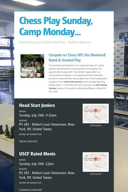 Chess Play Sunday, Camp Monday...