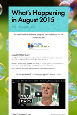 What's Happening in August 2015