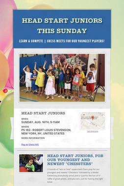 Head Start Juniors This Sunday