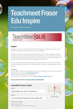 Teachmeet Fraser  Edu Inspire