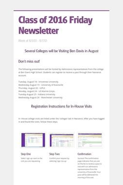 Class of 2016 Friday Newsletter