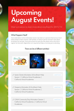 Upcoming August Events!