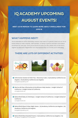 iQ Academy Upcoming August Events!
