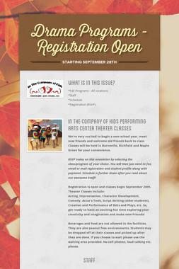 Drama Programs - Registration Open