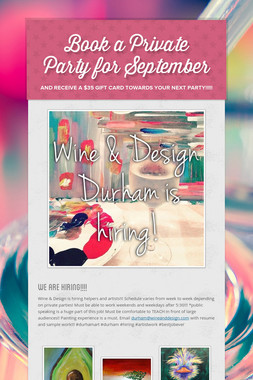 Book a Private Party for September