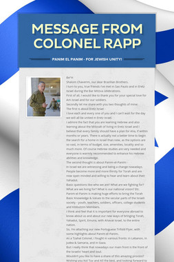 Message from Colonel Rapp