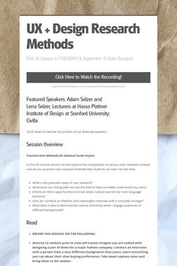 UX + Design Research Methods