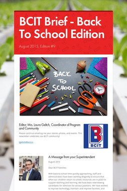 BCIT Brief - Back To School Edition