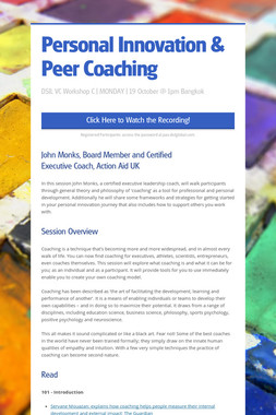 Personal Innovation & Peer Coaching