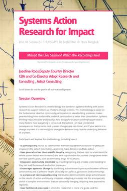 Systems Action Research for Impact