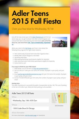 Adler Teens 2015 Fall Fiesta