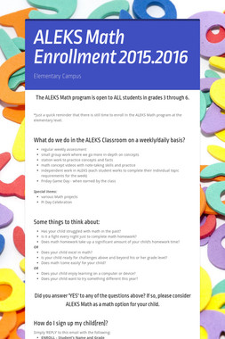 ALEKS Math Enrollment 2015.2016