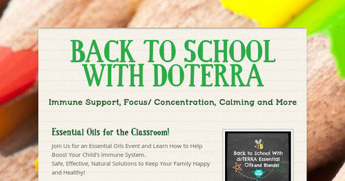 Back To School With Doterra Smore Newsletters
