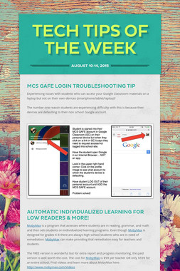 Tech Tips of the Week