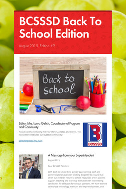 BCSSSD Back To School Edition