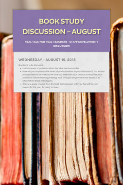Book Study Discussion - August