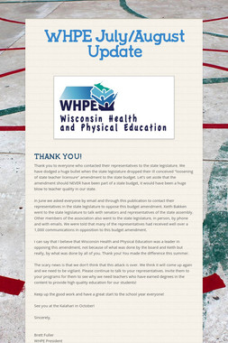 WHPE July/August Update
