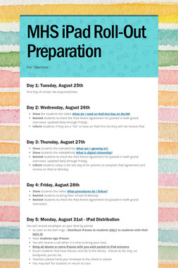 MHS iPad Roll-Out Preparation