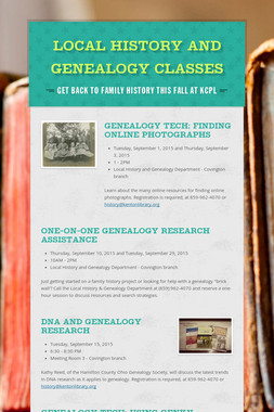 Local History and Genealogy Classes