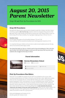 August 20, 2015 Parent Newsletter
