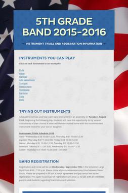 5th Grade Band 2015-2016