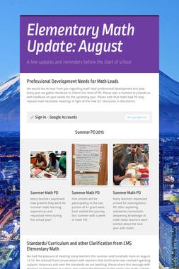 Elementary Math Update: August