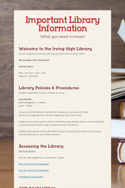 Important Library Information