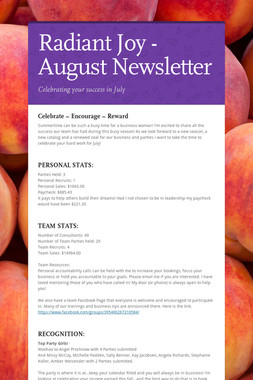Radiant Joy - August Newsletter