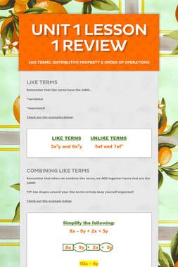Unit 1 Lesson 1 Review