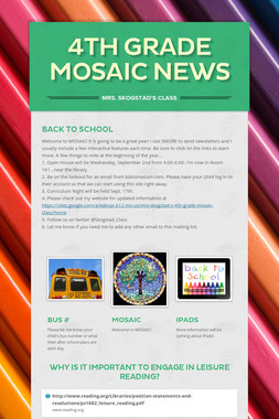 4th Grade MOSAIC News