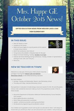 Mrs. Happe GE October 2015 News!