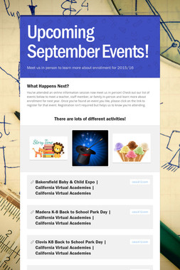 Upcoming September Events!