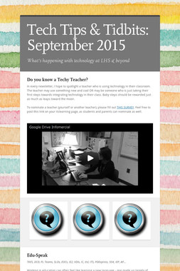 Tech Tips & Tidbits: September 2015