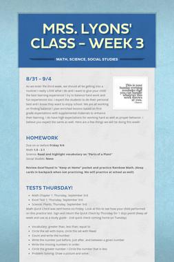 Mrs. Lyons' Class - Week 3