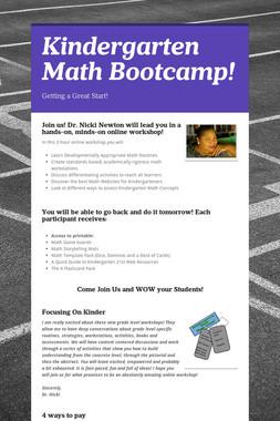 Kindergarten Math Bootcamp!