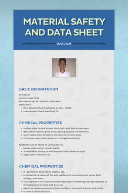 Material Safety and Data Sheet